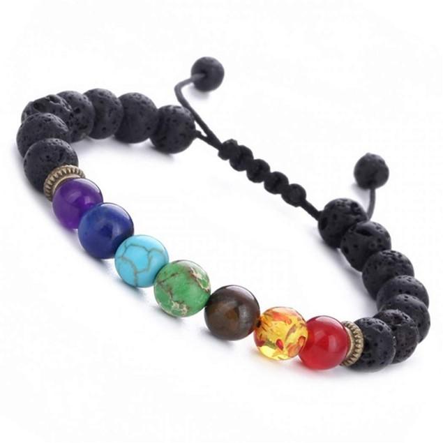 Adjustable 7 Genuine Chakra Healing Lava Stone Bead Bracelet and Diffuser