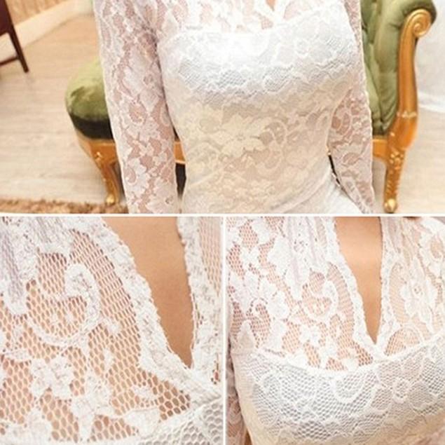 Women Sexy V-Neck Lace Floral Slim Dress