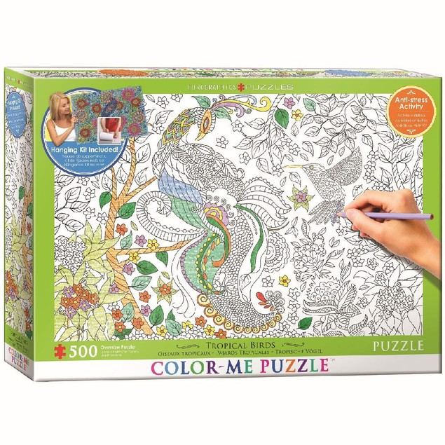 Color Me Tropical Birds 500 Piece Puzzle, 500 Piece Puzzles by Eurographics