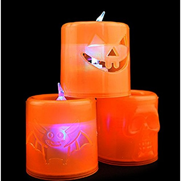 Halloween Light Up Battery Pumpkin, Bat, and Skull Flameless Candles Decor
