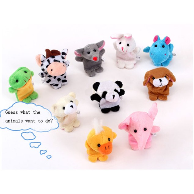 10pcs Animal Finger Puppet Plush Child Baby Early Education Toys