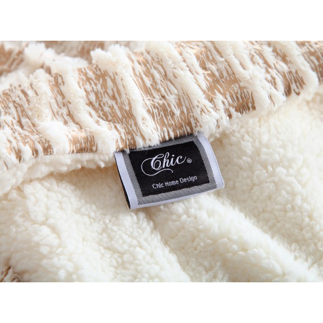 Chic Home Panama Ultra Plush Micro Mink Silver Stamping Sherpa Blanket