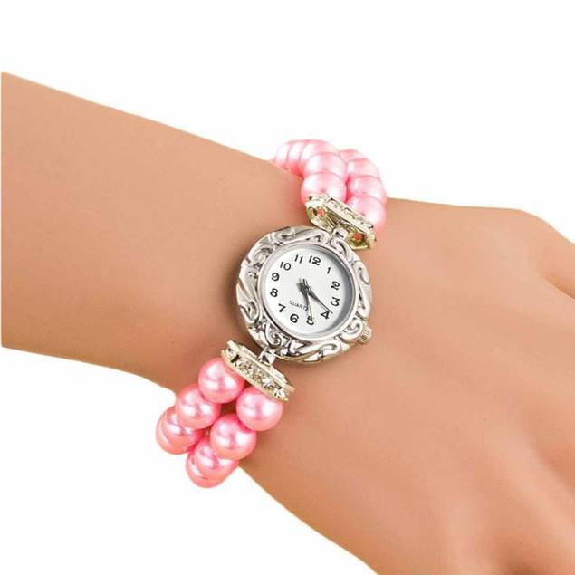 Women Fashion Brand New Golden Pearl Quartz Bracelet Watch