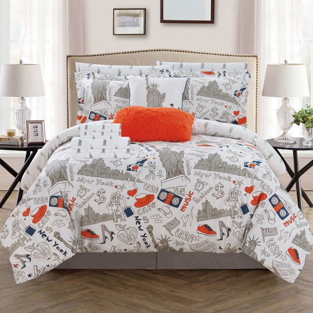 Liberty 9 or 7 Piece Reversible Comforter Set New York Inspired