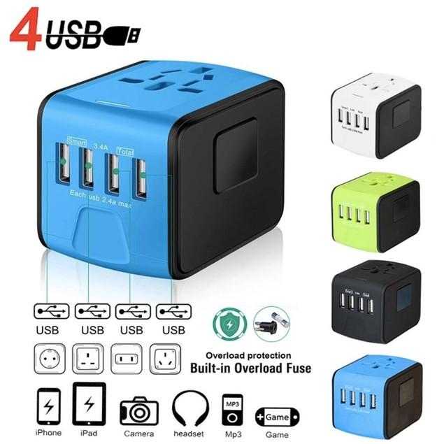 4 USB Universal Travel Power Adapter