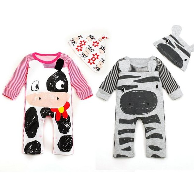 Newborn Baby Boys Girls Romper+Hat Jumpsuit Bodysuit Clothes Outfit