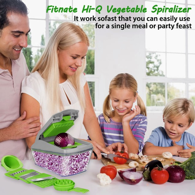 FITNATE Vegetable Chopper Slicer Dicer – 13pcs Vegetable Spiralizer