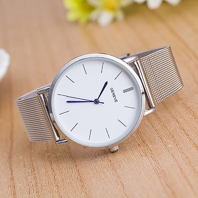 Women Fashion Geneva Stainless Steel Analog Quartz Wrist Watch