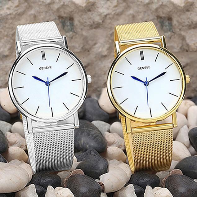 Women's Geneva Stainless Steel Mesh Band Analog Quartz Wrist Watch