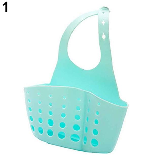 Sink Sponge Holder 2 Bags Holes Tap Hanging Strainer Storage Rack
