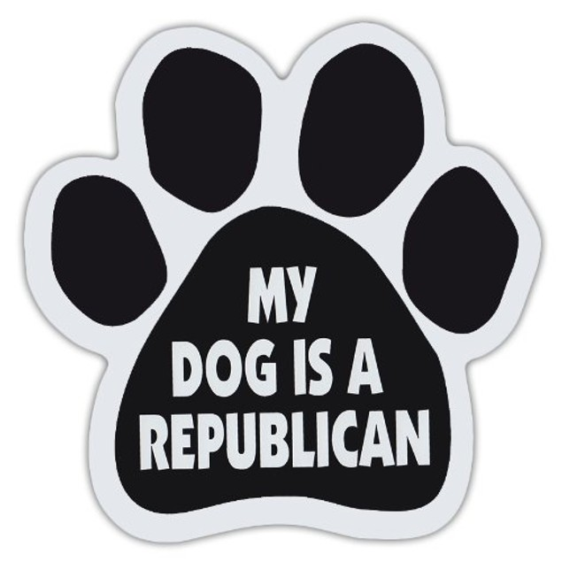 """My Dog Is A Republican Paw Magnet Dog Cat 5.5"""" x 5.5"""" Shaped Puppy Politics"""