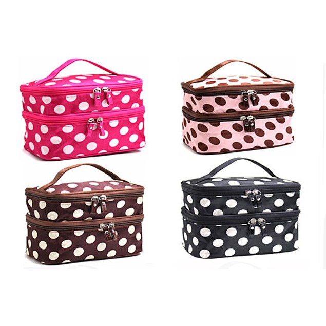 Adorable Polka Dotted Two-Layer Cosmetic Makeup Bag- 4 Colors