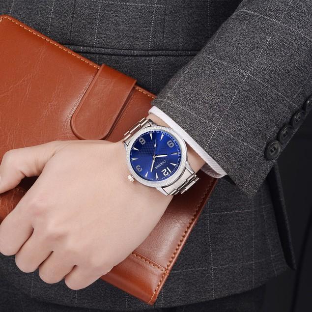 Men Stainless Steel Quartz Military Sport Steel Band Dial Wrist Watch W5