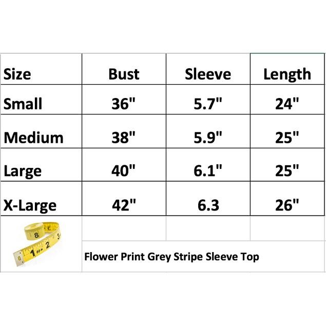 Women's Flower Print Grey Stripe Sleeve Top
