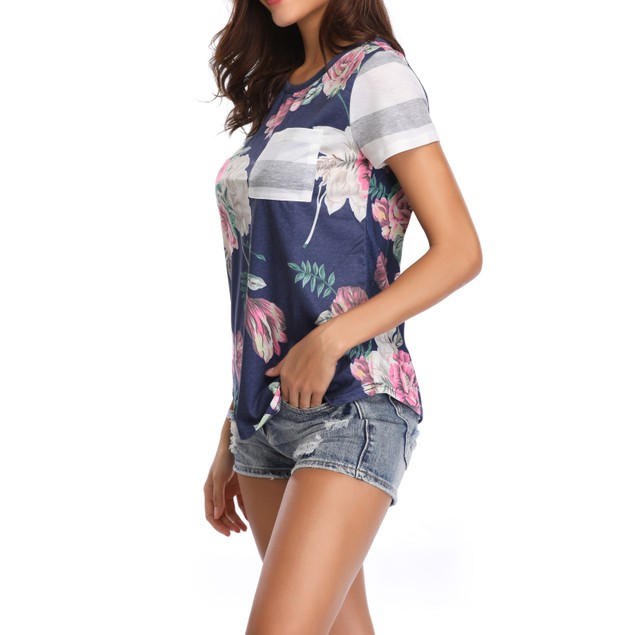 Women's Flower Print Grey Stripe Sleeve Top