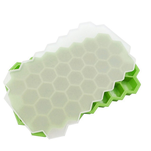 37 Cubes Honeycomb Shape Ice Cube Maker Tray Mold Storage Container