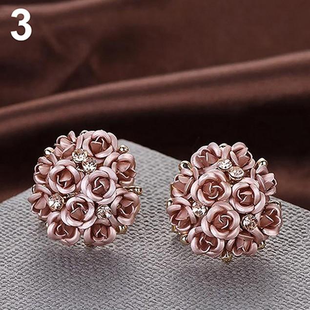Women Elegant Rose Flower Crystal Rhinestone Earrings