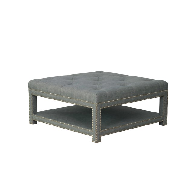 Chic Home Dara Coffee Table Ottoman 2-Layer Linen Bench