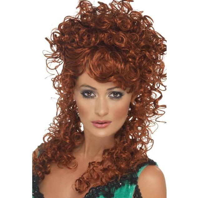 Auburn Saloon Girl Wig Western Sexy Curly Long Cowgirl Adult Womens