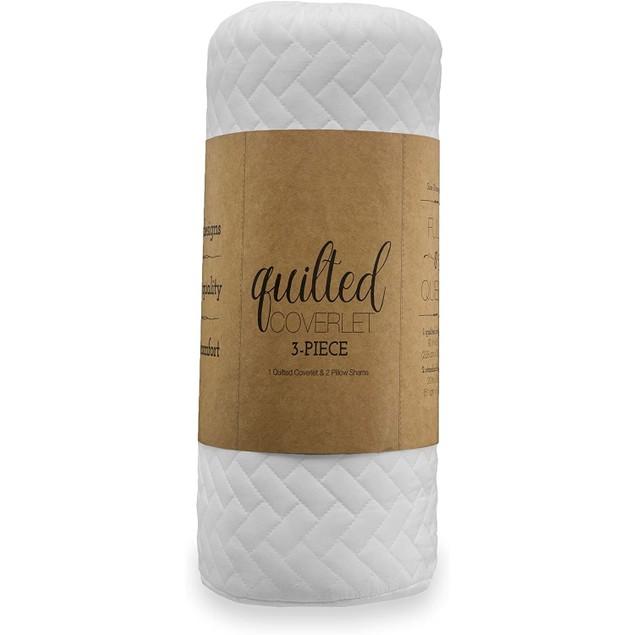 Merit Linens Premium Soft Herring Pattern Quilted Coverlet Set, King, White