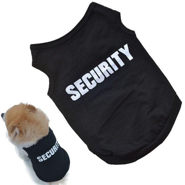 Security Black Cotton T-Shirt for Dogs