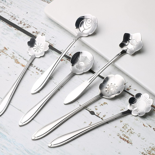 16Pcs Multiple Flower Carved Mini Spoon for Desserts Coffee Tea