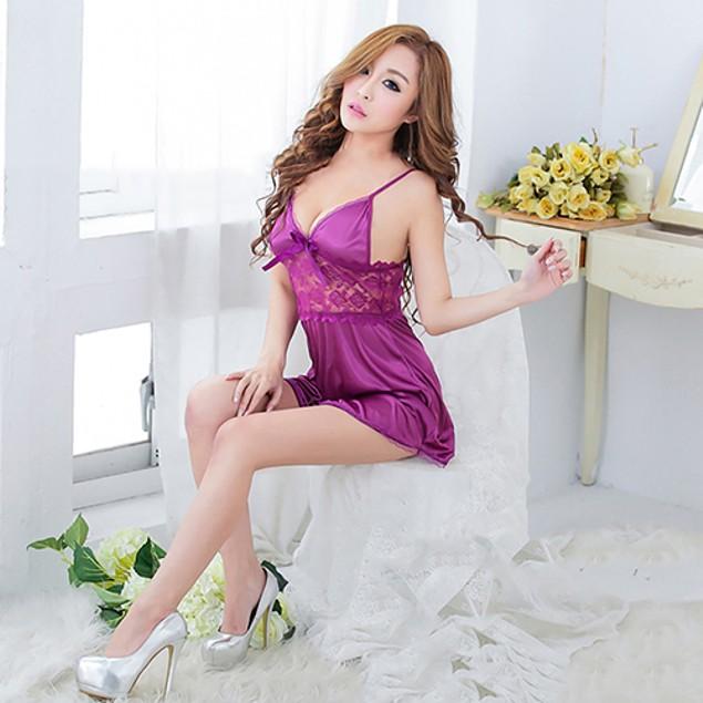 Women Gown Lace Patchwork Underwear Night Robe Dress Sleepwear Asian Size
