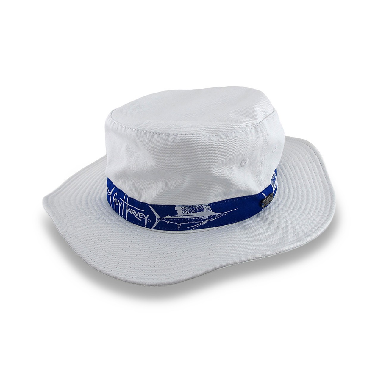 890dead1e Guy Harvey White Booney Hat Blue Sailfish Band Mens Sun Hats - Tanga