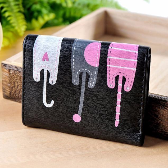 Women Cat Pattern Coin Purse Short Wallet Card Holders Handbag