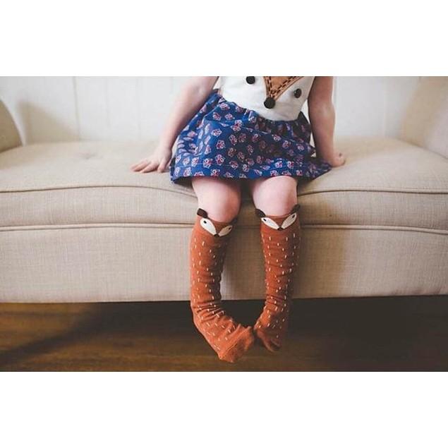 Toddler Girls Fox Pattern Knee High Socks For Age 1-3 Years