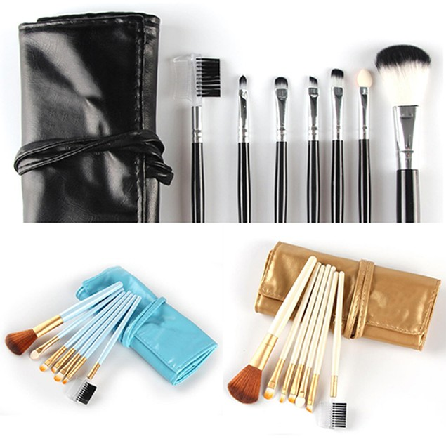 7 Piece Makeup Brushes Set with Carry Pouch