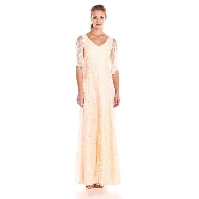Donna Morgan Women's Lace Gown with Sleeve, Apricot, 0