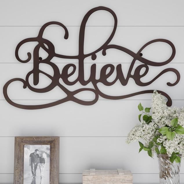 """BELIEVE"" Rustic Metal Cutout Wall Art"