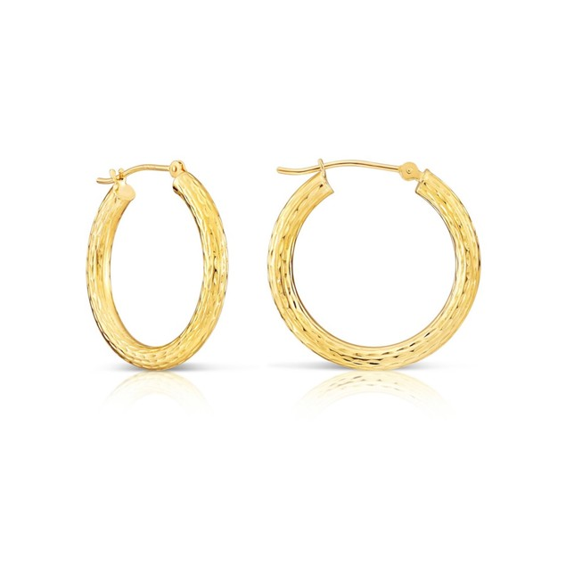 18K GOLD CLASSIC 30MM DIAMOND CUT HOOP EARRINGS