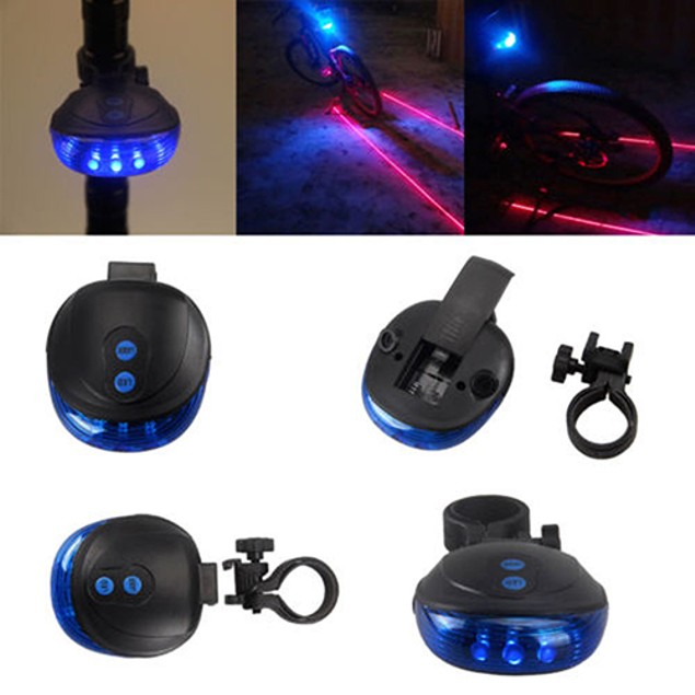 Bike 2 Laser+5 LED Flashing Lamp Cycling Light