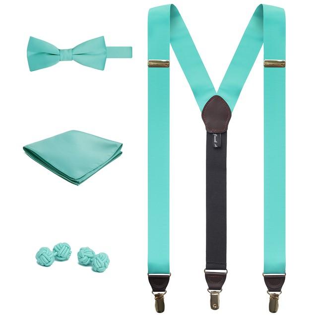 Jacob Alexander Suspenders Handkerchief Cufflinks Pre-Tied Bow Tie Set