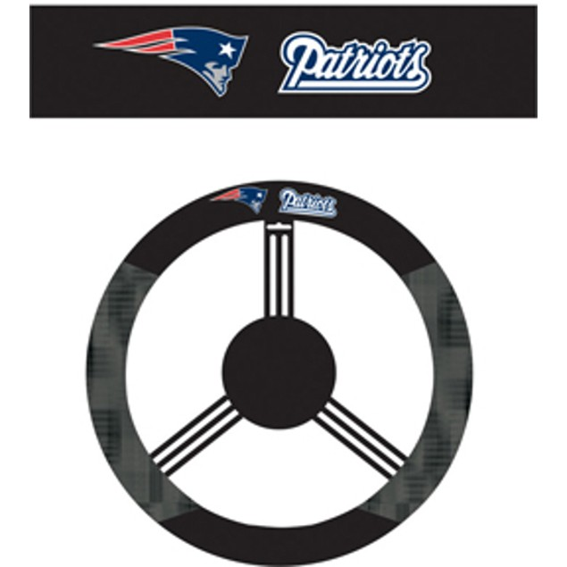 New England Patriots Steering Wheel Cover NFL Football Team Logo Poly Mesh