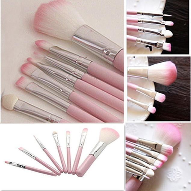7Pcs Pro Pink Handle Face Lip Eye Shadow Eyeliner Makeup Brush Set