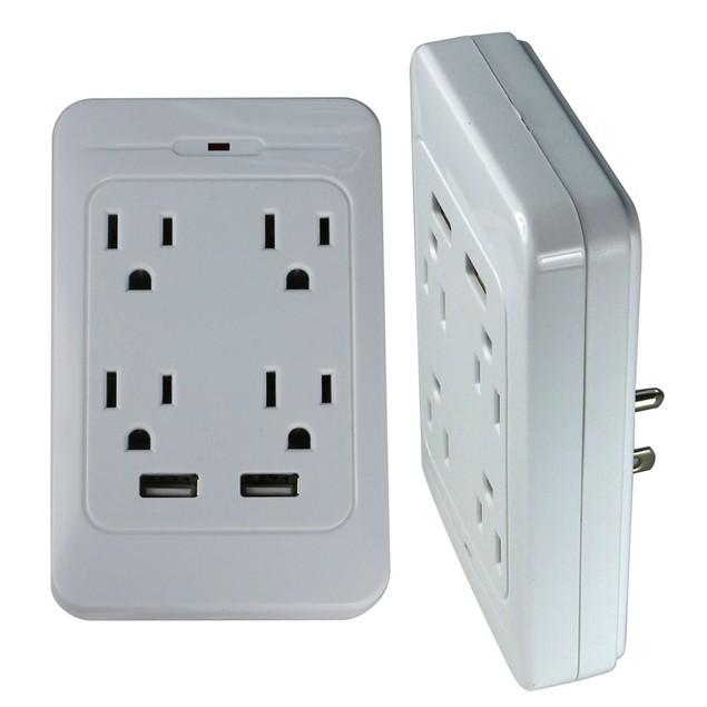 4-Outlet & Dual USB Charging Station (White)