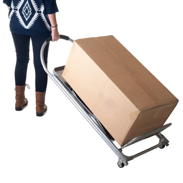 Stalwart Step Ladder Dolly Folding Cart - Silver