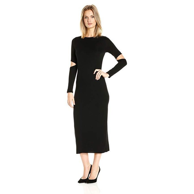 CLAYTON Women's Sam Midi Dress, Black, sz: Large