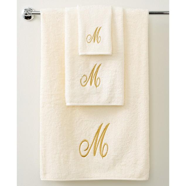 "Avanti Bath Towels, Monogram Initial Script 52 x 27"" Bath Towel, Ivory/Gold"