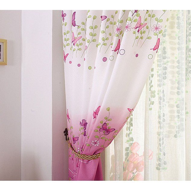 Butterfly Calico Finished Product Cloth Window Screens Curtain