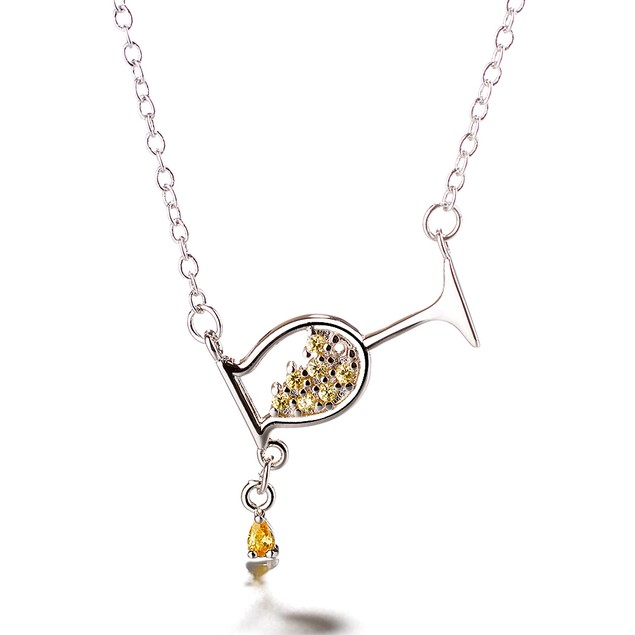 Sterling Silver Wine Glass Pendant Necklace