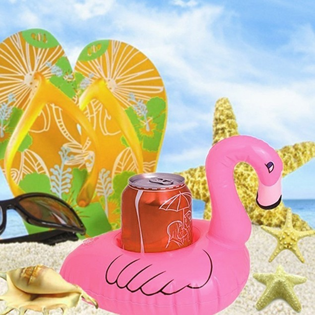 Set of 12 Inflatable Flamingo Cup Holders