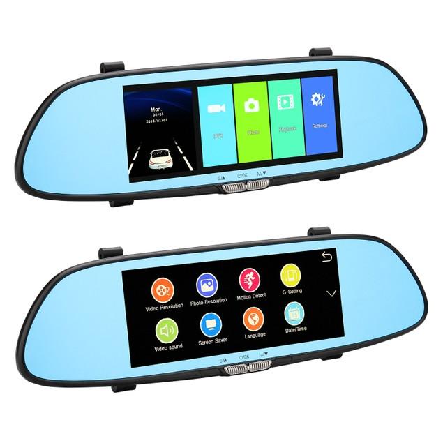7''Car DVR Dual Lens 1080P Vehicle Dash Cam Rearview Mirror Camera Recorder