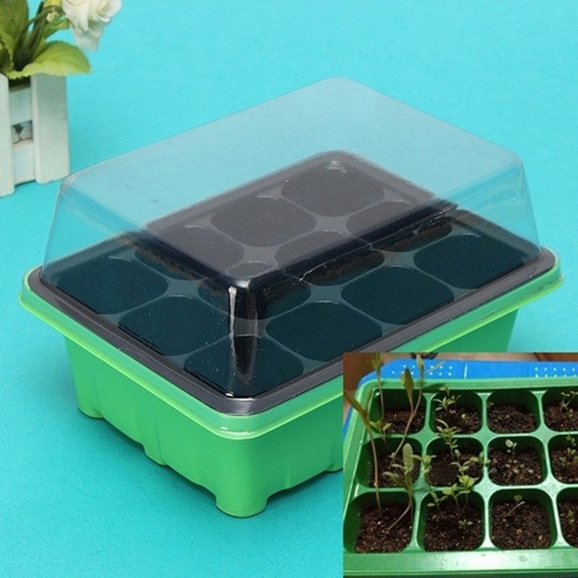 12 Holes Seeds Planting Germination Growth Box Nursery Pot Tray