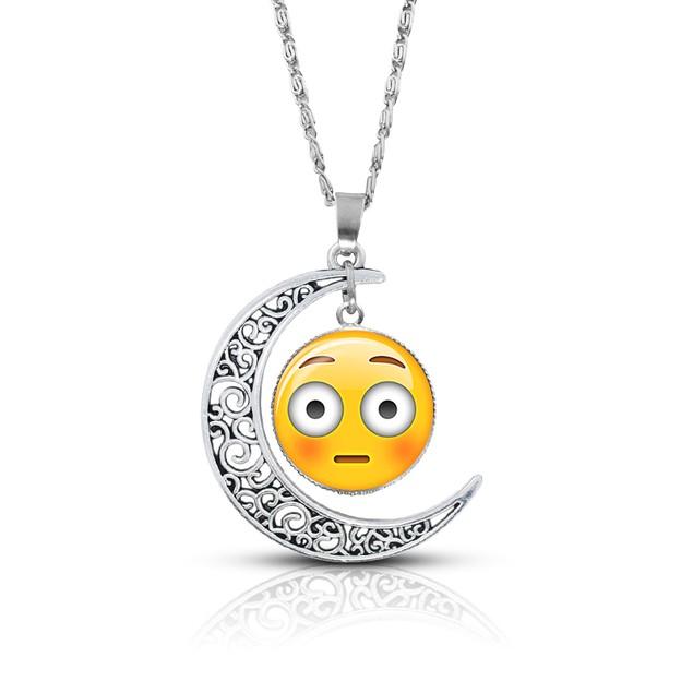 Premium Quality Emoji Necklace – Alloy & Glass – Crescent Pendant