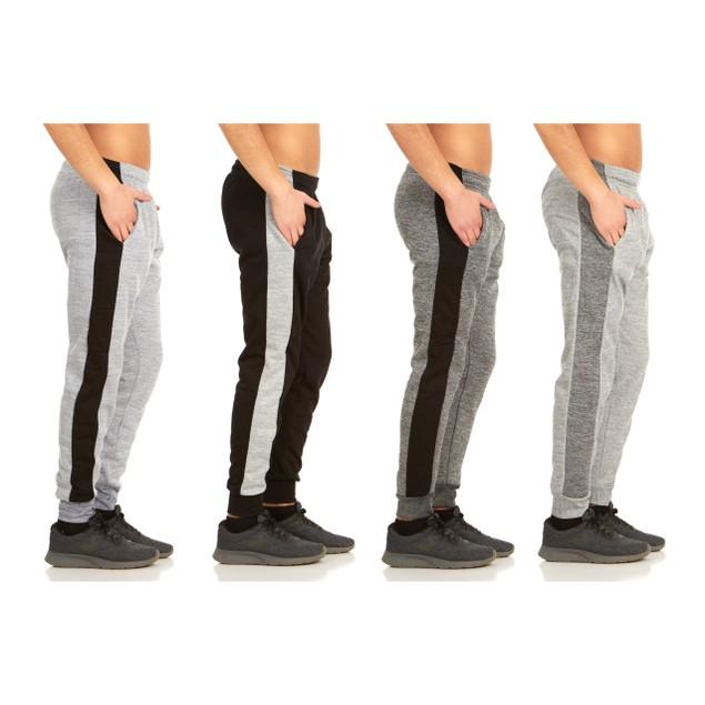 2-Pack Men's Striped Marled Fleece Jogger Pants
