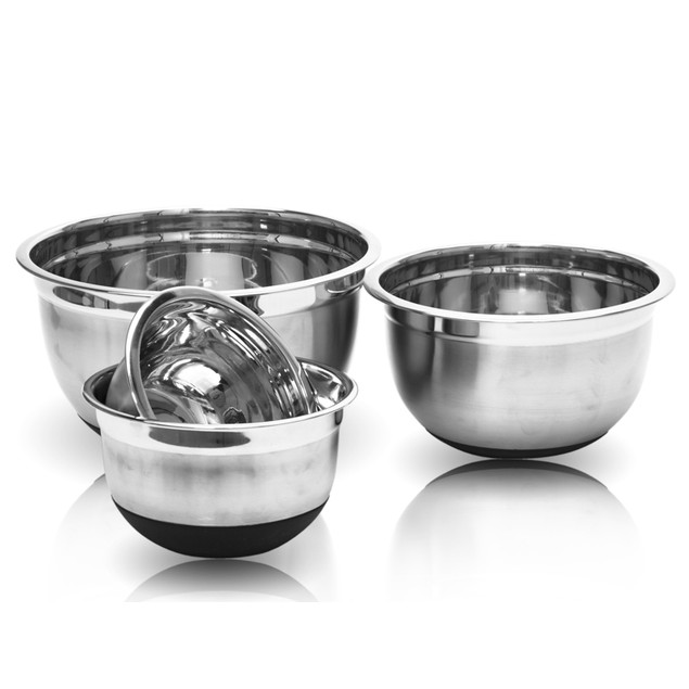4 Pcs Stainless Steel German Mixing Bowls Set W/ Non-Skid Silicone Bottoms